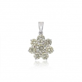 White Gold Diamond Flower Pendant 7.03ct TDW
